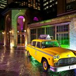 Vintage New York taxi parked by The Brewery for a Christmas party event