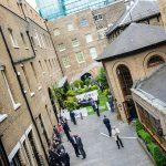 High angle view of a corporate garden themed summer party at The Brewery in London
