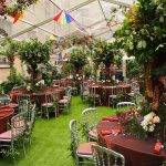 Dinner setting for garden themed summer party at The Brewery