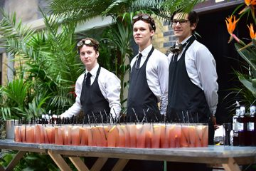 Waiters at the brewery during a Summer Party
