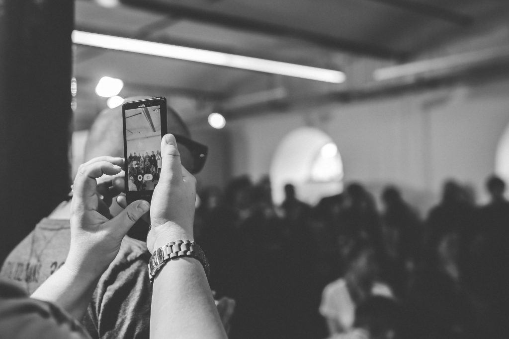 Taking photos at an event