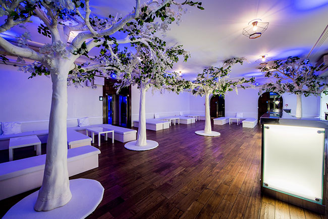 White tree decoration in event room