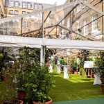 Garden themed summer party area at The Brewery, London