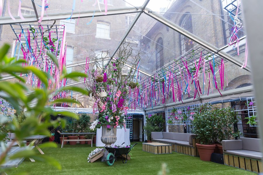Summer party at The Brewery with an English country garden theme