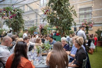 Corporate event with garden party theme