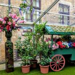 Floral decorations for The Brewery garden themed summer party