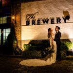 Wedding photo being taken in the courtyard at The Brewery venue in London