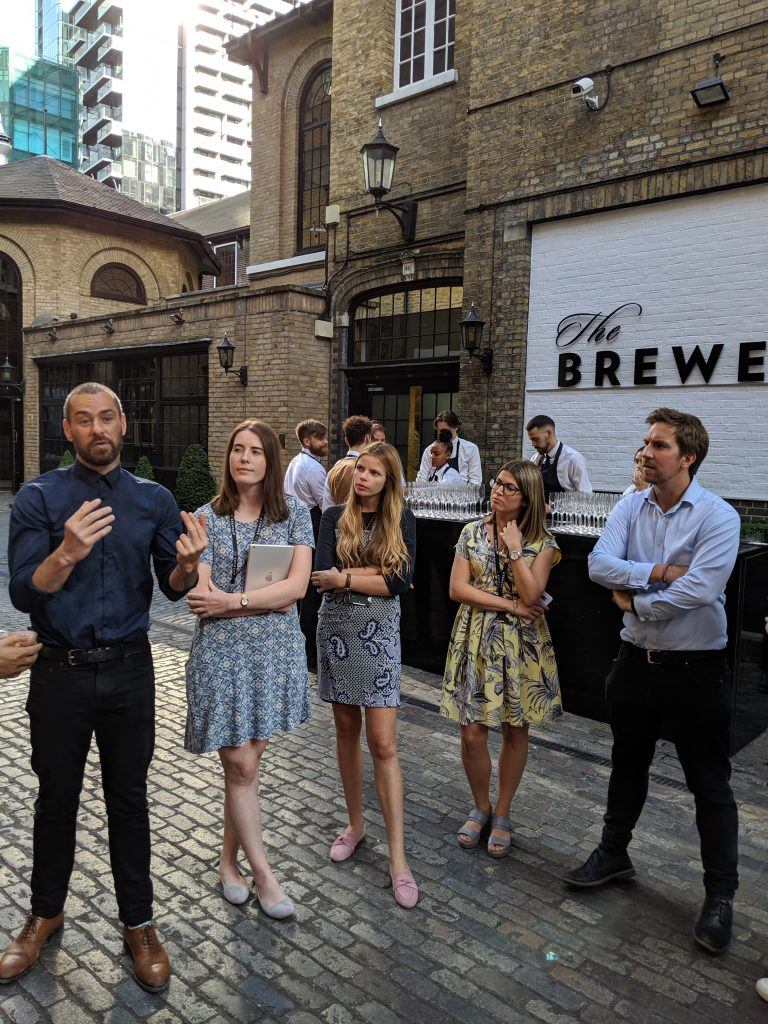 Beverage manager Will briefing the team at The Brewery