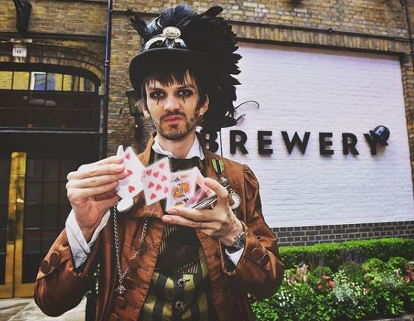 Creeper card player at The Brewery London venue for Halloween corporate events.