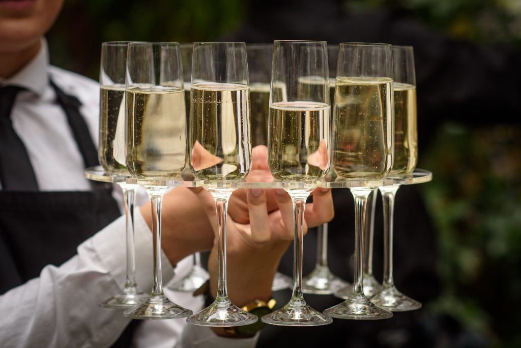 Prosecco tray served at weddings