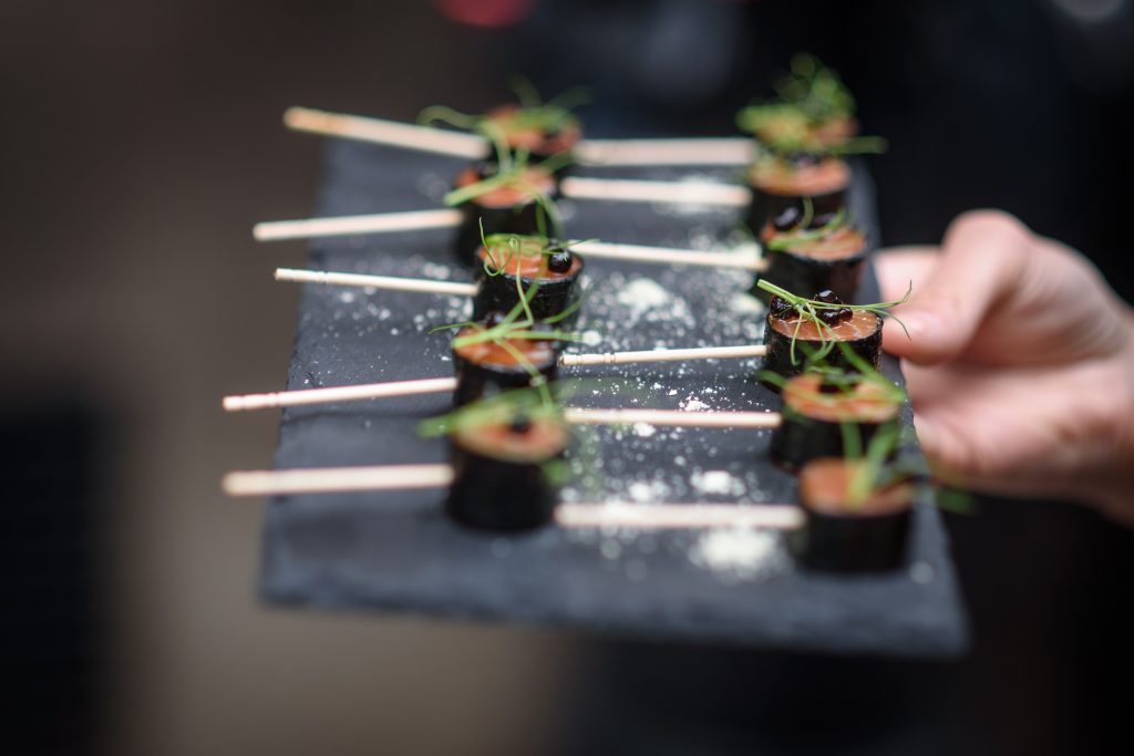 Canapes served at weddings