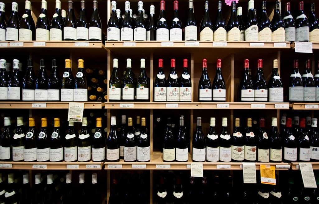 Shelves of wines on display